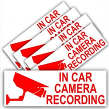 5 x In Car Camera Recording-Red on White-Security Stickers-87mmx30mm-Dashboard CCTV Sign-Van,Lorry,Truck,Taxi,Bus,Mini Cab,Minicab